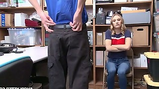 Shoplifter Kasey Miller gets her pussy and mouth punished in the backroom