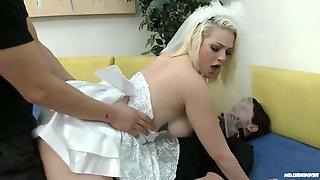 Kinky best man fucks slutty bride Jenna Ivory in front of tied up groom