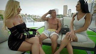 Rich boy enjoys fucking killing hot curvaceous sluts by the poolside