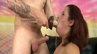 Floppy tits woman gagged by big cocks